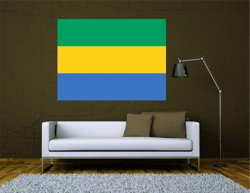 Kiwistar Wandtattoo Sticker Fahne Flagge Aufkleber Gabun 80 x 60cm