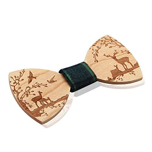 Corbatas de lazo de madera, Hombres atados, Corbata de lazo de madera Diseños únicos Híbrido ajustable para hombre Boda Corbata de color sólido
