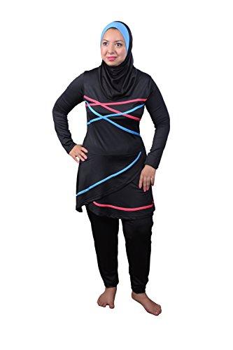 Egypt Bazar Ganzkörper islamischer Badeanzug im Burkini Stil muslimischer Schwimmanzug Hijab (36-38 (S), Schwarz)
