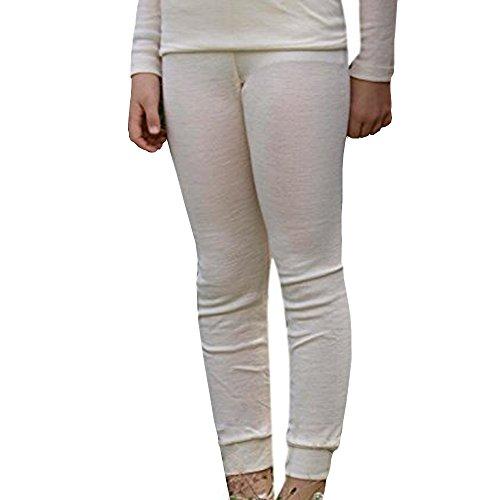 EcoAble Apparel Kinder Leggings Pyjamahose Thermounterwäsche Bio-Merinowolle Seide, Größen 2-10 Jahre - Elfenbein - Höhe 104 cm/102 cm