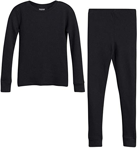 Only Boys Warm-Waffle-Weave Long John Thermal Underwear Base-Layer Top and Pant Set, Black, Size Medium/8-10