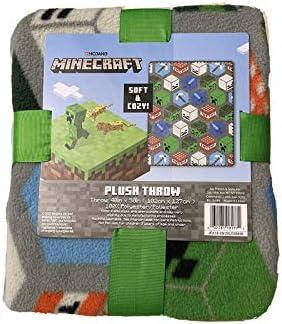 Jay Franco Son Mojang Minecraft Grey Plush Blanket 40 x 50 Fleece Throw Soft Cozy product image