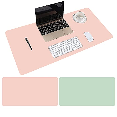 Pair-Color Large PU Leather Mouse pad, Suitable for Office, Home Office, School Notebook Computer Desk pad, Waterproof Writing pad, Desktop Protection pad 31.415.70.06 inches(Pink/Green)