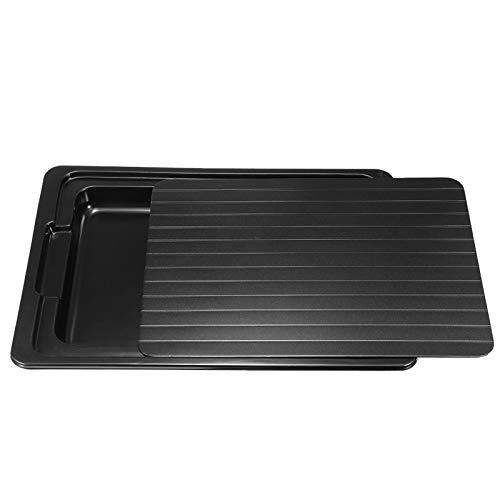 High-End Thaw Teller, Defrost Tray Thaw Platte Frozen Food Schneller und sicherere Methode zum Abtauen Fleisch oder Tiefkühlkost Küchengeräte (Color : Black)