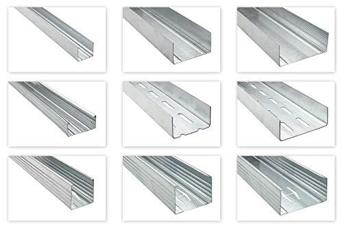 HEXIM Trockenbauprofile UD CD UW CW UA - die wichtigsten Trockenbau Profile für Wand & Decke - (UD27: 8 Stück je 3 Meter) Deckenabhängungen