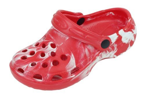Sunville Childrens Tie Dye Garden Shoes Clogs,12 M US Little Kid,Red
