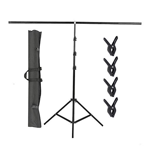 ShowMaven T-Shape Backdrop Stand 59in/150cm Wide 8.5ft Tall, Background Support Stand System with Carry Bag and 4 Clamps for Background, Photo and Video Studio
