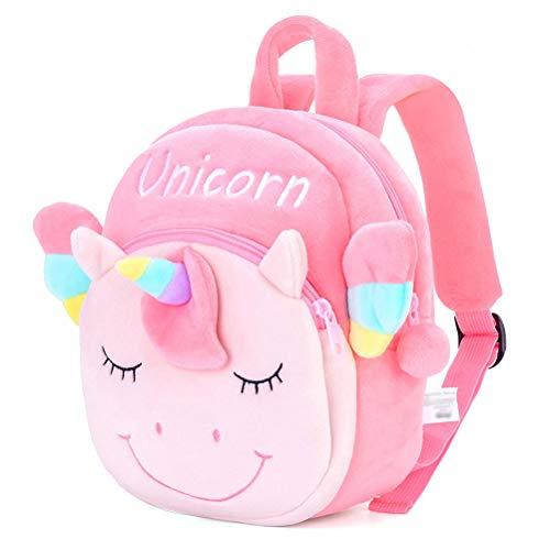 KKPLZZ Children's Backpacks, Children's Backpacks 3D Cartoon Unicorn Plush Kids Shoulder Bags