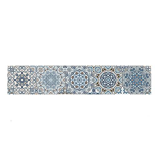 Pegatinas de azulejos creativas retro tiras impermeables pegatinas de pared DIY autoadhesivas autoadhesivas retro cuadrados para decoración de muebles de cocina baño 20 x 100 cm x 1 pieza