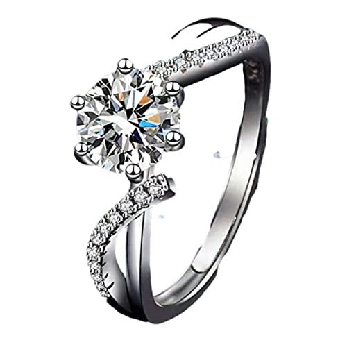 NC D Color Anillo de diamantes Moissan para mujer, plata de ley 925 chapado en platino, serie Bloom, tamaño ajustable, rentable, A para todas las mujeres.