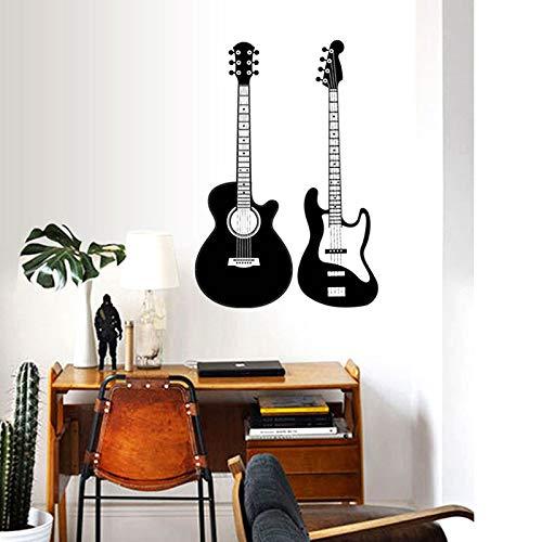 Yaonuli Decoratie van de gitaar als decoratie van het soort zelfklevende muurstickers voor muziek, decoratie van het huis, muurkleur muziek achtergrond van de salon