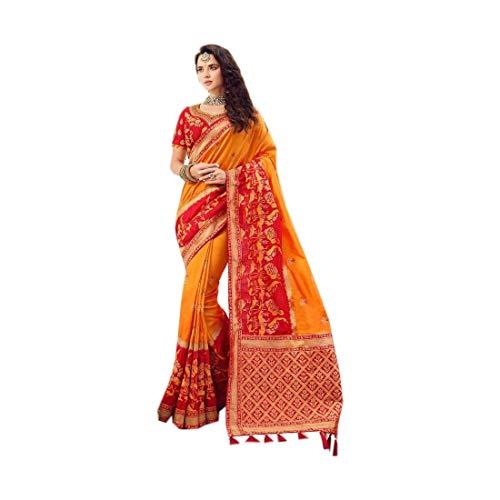 Senf Orange Indische Braut Designer Hochzeit Party Wear Sari Bluse stilvolle Bollywood Phantasie traditionelle Weben Seide Frauen Saree Choli 9267