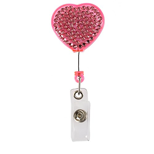 Purely Handmade Fashion Retractable Pink Heart Bling Crystal Badge Reel Cute Rhinestone Badge Holder Reel Clip For ID Badge Holder,24 inch Retractable Cord