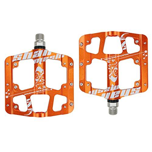 DANLINI Aluminiumlegierung abgedichtet 3 Lager rutschfeste Fahrradpedale Plattfuß Ultraleichte Mountainbike-Pedale MTB Fahrradteile, Orange