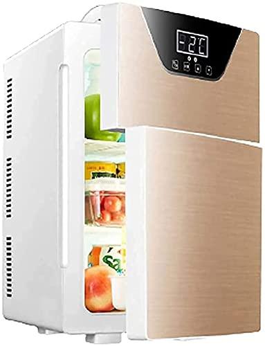 LSWY Congelador portátil 20L Mini refrigerador Mini refrigerador portátil con Pantalla táctil Double Puerta Coche Refrigerador Más frío Calentador pequeño refrigerador para Coche hogar