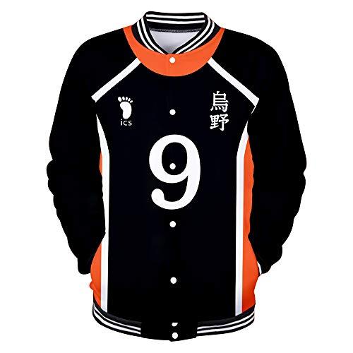 Haikyuu!! TO The Top Baseball Jacket Anime Vóleibol Chaqueta Uniforme de Beisbol Pullover Abrigos Casuales Manga Larga Sweater Sweatshirt Moda para Hombres Mujeres