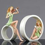 LOSAYM Figuritas Decorativas 2 Unids/Set Nordic Violin Girl Art Sculpture Retro Character Violin Figurine Resin Crafts Home Decoration-A_As_Shown