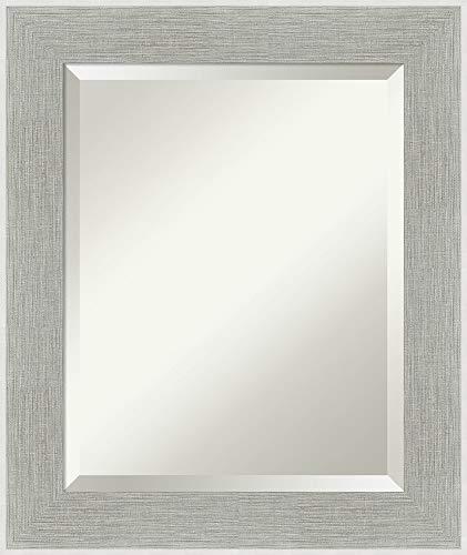 Framed Vanity Mirror | Bathroom Mirrors for Wall | Glam Linen Grey -