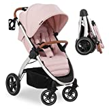 Hauck Silla de paseo bebe UpTown con respaldo reclinable y manillar regulable en altura - Sillita de paseo ligera y compacta, plegado con una mano y portavasos, hasta 25 kg - rosa palo