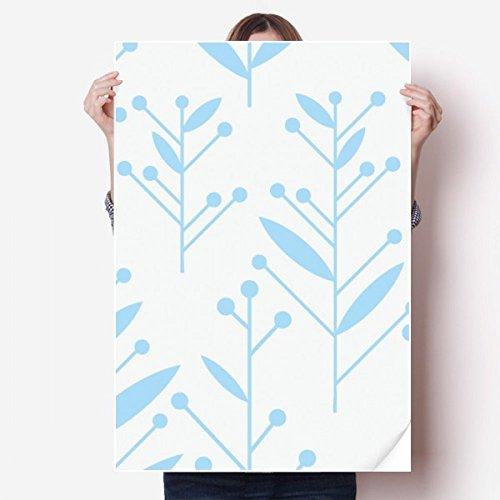 DIYthinker blauwe knop bloem plant verf Vinyl muur Sticker Poster muurschildering behang kamer Decal 80X55Cm