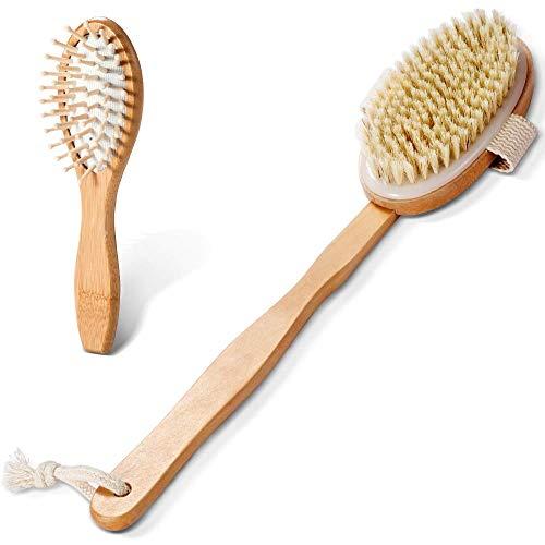 Masthome Badebürste mit Stiel Abnehmbar Rückenschrubber Rückenbürste mit Haarbürste Massagebürste aus Holz Körperbürste mit Naturborsten für Haare und Körper Pflegung