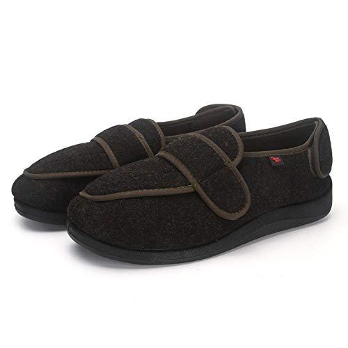 chenhe Diabético ortopédico para Hombre,Zapatillas ortopédicas Lavables con Velcro, ampliamente adecuadas para Zapatillas de Espuma viscoelástica para diabéticos-Gris_45EU