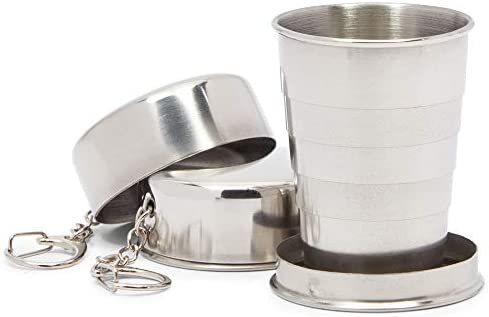 Stainless Steel Collapsible Shot Glasses for Camping Travel 2 3oz 2 Pack product image
