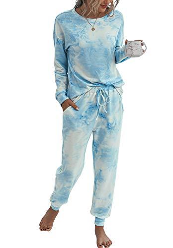 PRETTYGARDEN Women's Tie Dye Two Piece Pajamas Set Long Sleeve Sweatshirt with Long Pants Sleepwear with Pockets Blue