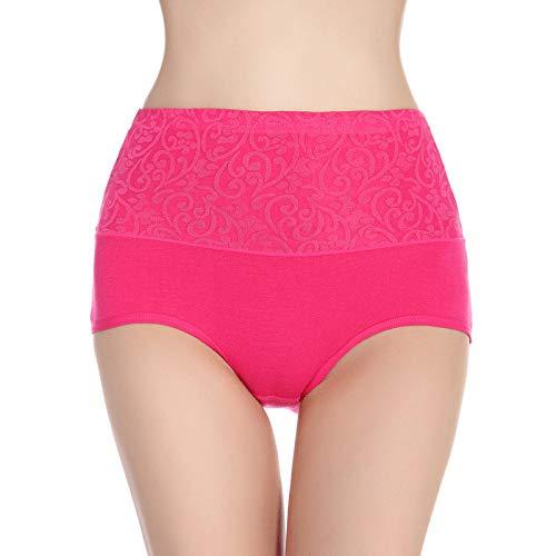 HUABEI Postpartum High Waist Briefs Women's Underwear Cotton Large Size Cotton Underwear Ladies Sexy briefsA-1Rose redA-1XXXXL MYJ