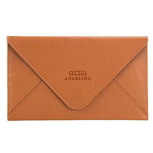 Otto Angelino portafoglio in vera pelle e porta carte di credito - portafolgio da viaggio stile-busta - scompartimenti multipli per denaro, Smartphone - Blocco di RFID - Unisex