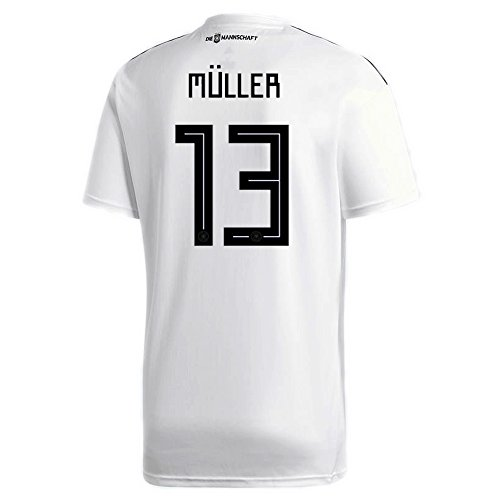 adidas Muller #13 Germany Home Soccer Stadium S/S Jersey Copa Mundial Rusia 2018
