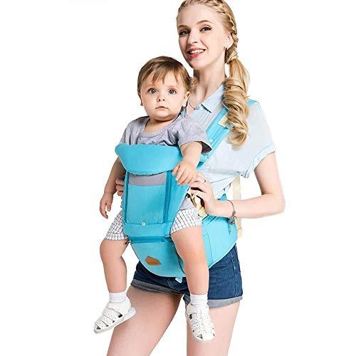 NJ Baby Carrier- Baby Carrier, 2-in-1 Ergonomische Ademende Baby Carrier Katoen Stof + Roll Open Raam Ventilatie + Enkele Schouderband - Vier seizoenen Universeel Blauw