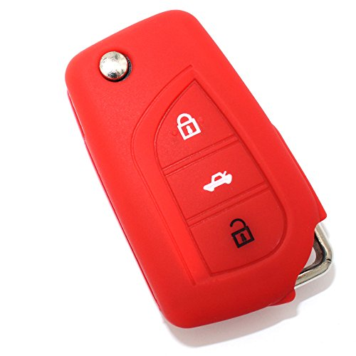 Schlüssel Hülle TA für 3 Tasten Auto Schlüssel Silikon Cover von Finest-Folia (Rot)