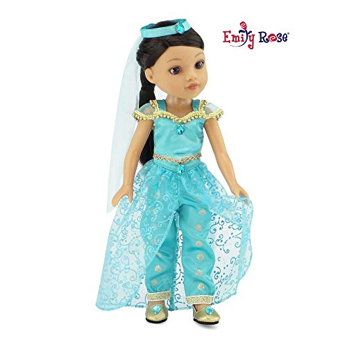 Emily Rose 14 Inch Doll Clothes | 4 Piece Jeweled Princess Jasmine Inspired Outfit, Including Shoes! | Perfect Halloween Costume! | Fits 14' American Girl Wellie Wishers and Glitter Girls Dolls