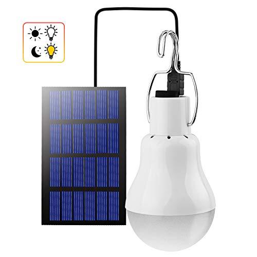 Beinhome LED Solarbetrieben Glühbirne Solarlampe Außen Wiederaufladbar mit Solarpanel und Licht Sensor 3W,LED Camping Solarlampe Leuchten für Garten Innen Außen Camping Hiking Haus Angeln,1 Stück