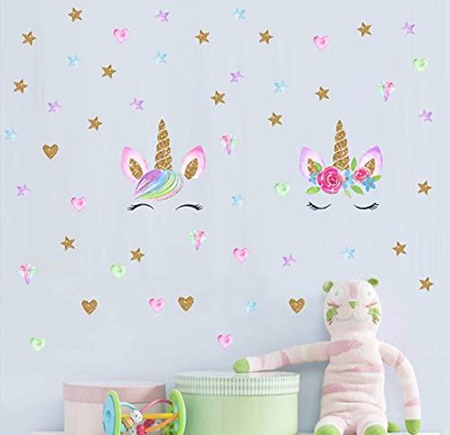 Ligoi DecoracióN De Pared Acuarela Unicornio Pegatinas De Pared Amor Pegatinas De Graffiti Autoadhesivo HabitacióN Infantil DIY PVC