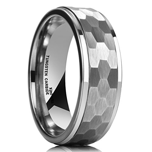 King Will HAMMER 8mm Silver Tungsten Ring Hammer Comfort Fit Faceted Men Wedding Band Polished Step Edge 9.5