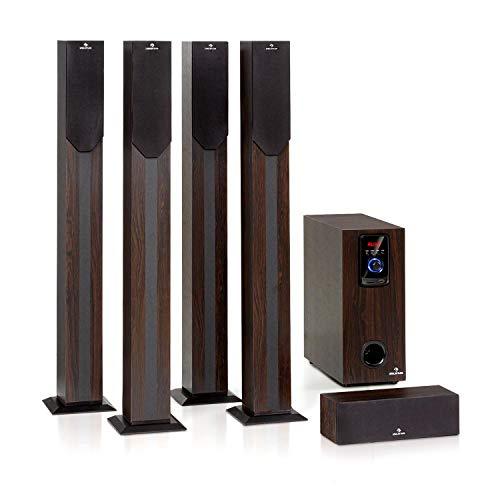 """auna Areal Elegance - 5.1-Kanal-Surround-System, Heimkinosystem, Leistung: 190 Watt RMS, 5\"""" Subwoofer, 5 x Satelliten-Lautsprecher (3\""""+5\""""), Bluetooth-Funktion, USB -/SD-Port, dunkle Holzoptik"""