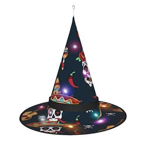 Sombrero de Bruja de Halloween para Mujer, Gorra de da de Muertos con Calavera de azcar Mexicana para Fiesta, Disfraz de Cosplay, Accesorio Diario