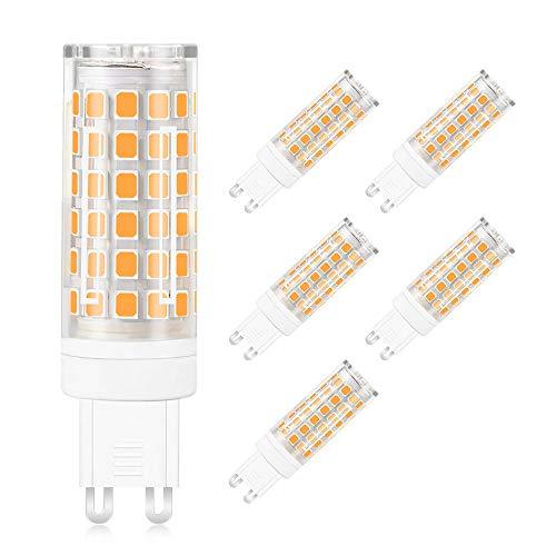 Daskoo Confezione da 6 luci a LED, anti sfarfallio G912W = 95W, in ceramica e policarbonato, luce bianca fredda, 76x 2835SMD, CA 220-240V