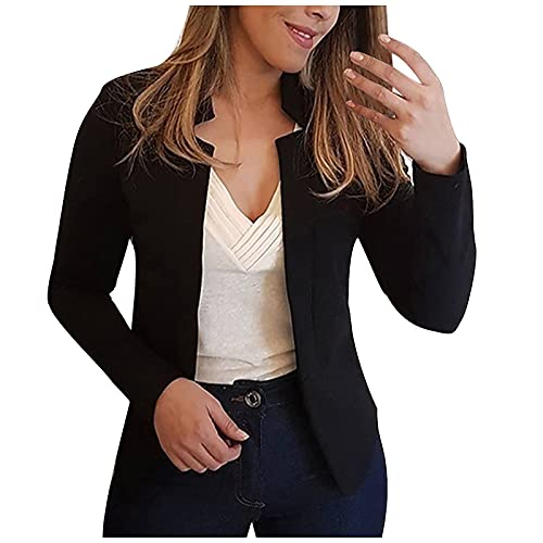 Women's Casual Cropped Blazer Solid Color Long Sleeve Work Office Business Formal Lightweight Fitted Blazer