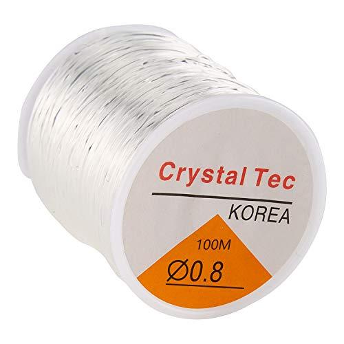 TOYMIS 0.8mm Cordino per Perline Trasparente Cordino per Bracciale Elastico Elastico in Cristallo per Gioielli Che Fanno Collana Braccialetto per Perline (328 Piedi)