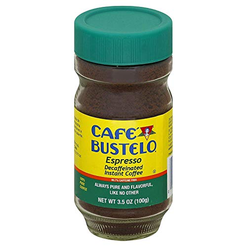 Cafe Bustelo Espresso Instant Decaf Coffee, 3.5 Ounce glass jar