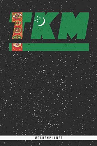 TKM: Turkmenistan Wochenplaner mit 106 Seiten in weiß. Organizer auch als Terminkalender, Kalender oder Planer turkmenischen Flagge verwendbar