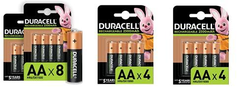 Duracell - Pilas Recargables AA 2500 mAh, paquete de 16