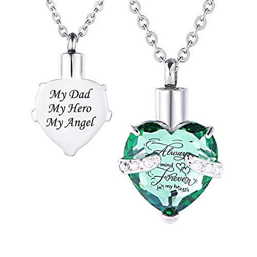 HooAMI[ホーアムアイ] メモリアルペンダント 防水仕様 遺骨ペンダント ハート ネックレス レディース メンズ ステンレス My Dad My Hero My Angel(緑)
