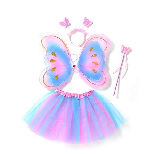 Vivianu - Juego de 4 piezas de alas de mariposa de hada para niñas con doble capa de tutú, falda mágica para cosplay, disfraz, fiesta