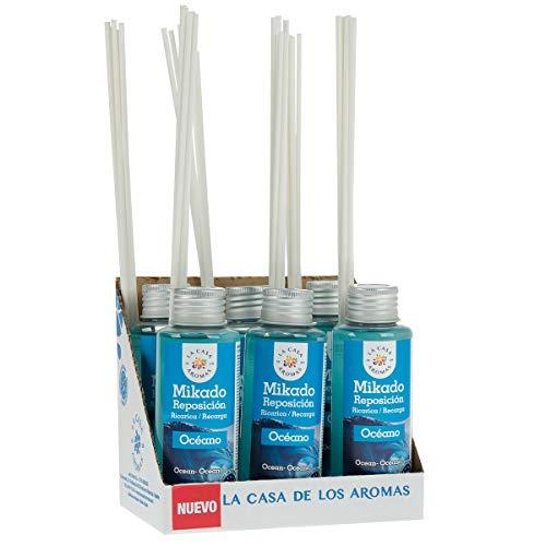 La Casa de los Aromas, Set 6 x 100ml Ambientadores Mikado Océano para Reposición con Varillas, Difusor Líquido de Aroma Océano, Perfume Duradero para el Hogar, Baño, Casa