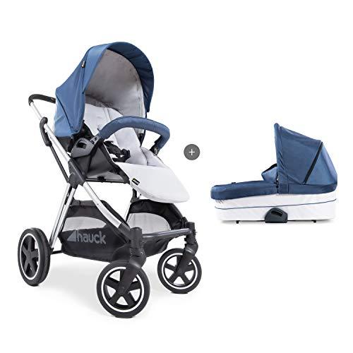 Hauck Mars Duoset Sportwagen + Beindecke + Babywanne, Sitz drehbar, bis 25 kg, 3XL Verdeck, großer Korb, kompakt faltbar, kompatibel mit Babyschale, denim/silver