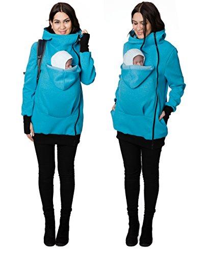 GoFuture Damen Tragejacke für Mama und Baby Känguru Klassiker GF2007XA3 Blau Melange Gr. 38
